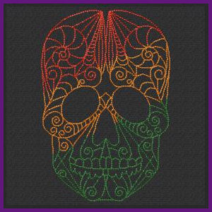Free Redwork Skulls Machine Embroidery Design
