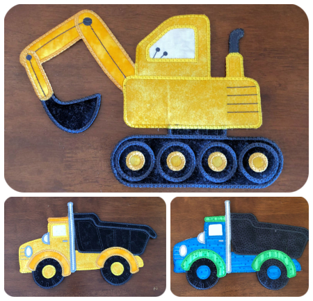 Large In The Hoop Digger And Truck Applique Design