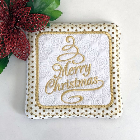 Free Merry Christmas Coaster (In the hoop)