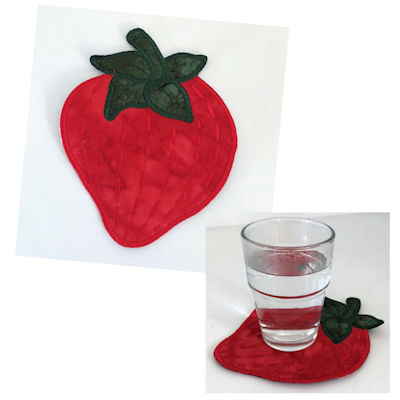 Free In the hoop Strawberry Coaster