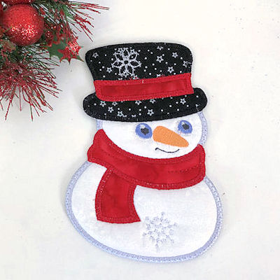 Free In the hoop Snowman Coaster