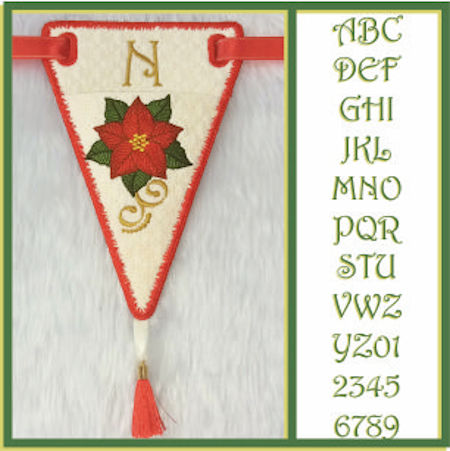 In the hoop Poinsettia Bunting