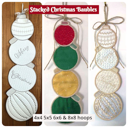 Stacked Christmas Baubles In the hoop