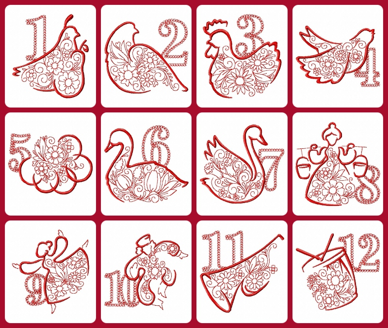 2020 12 Days of Christmas Embroidery designs by Kreative Kiwi