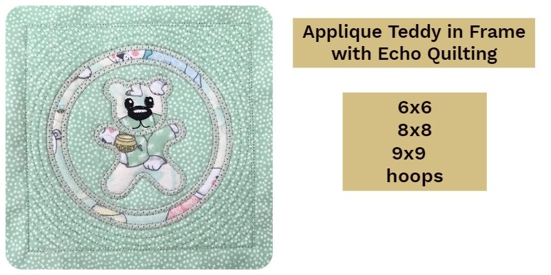 Applique Teddy Block with Circle Frame and echo quilting