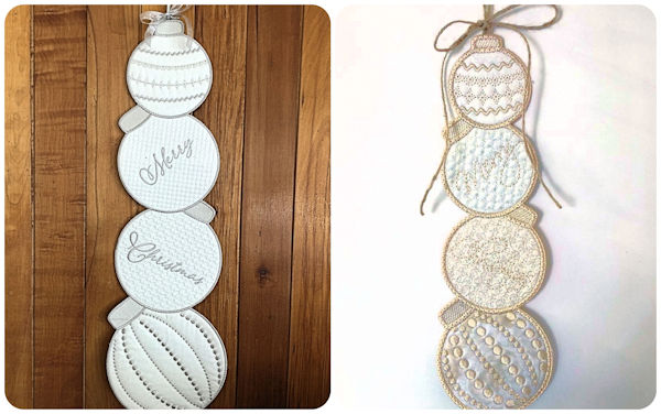 Merry Christmas wording on In the hoop Stacked Baubles