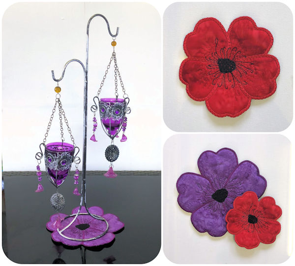 Free In the hoop Poppy Coaster