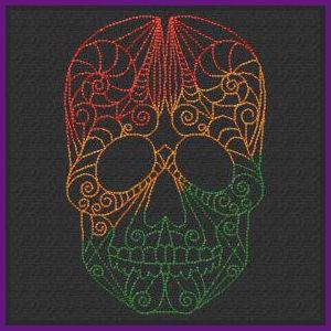 Free Redwork Skulls Machine Embroidery Design