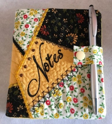 In the hoop Notebook Cover with added Tab