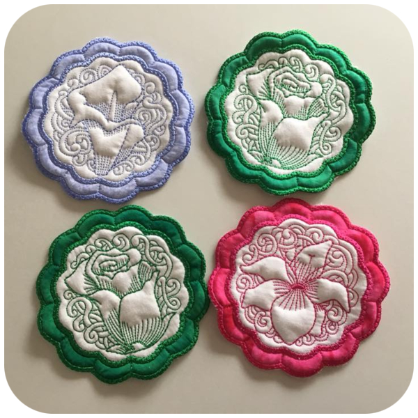 Floral Coasters showing Quilting