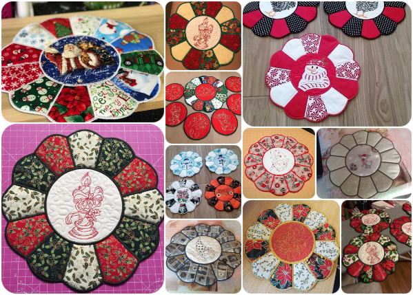 In the hoop Christmas Placemats with Christmas Fabrics
