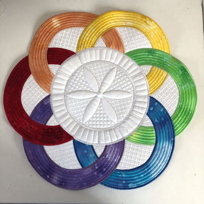 Multi Fabric In the hoop Winners Circle Placemat