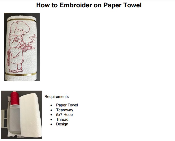 How to embroider on Paper Towel 01