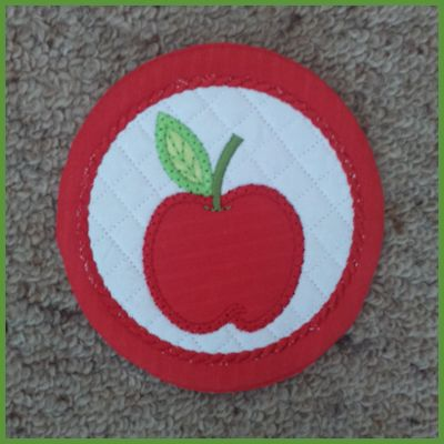 How to make our Free In the hoop Apple Coaster