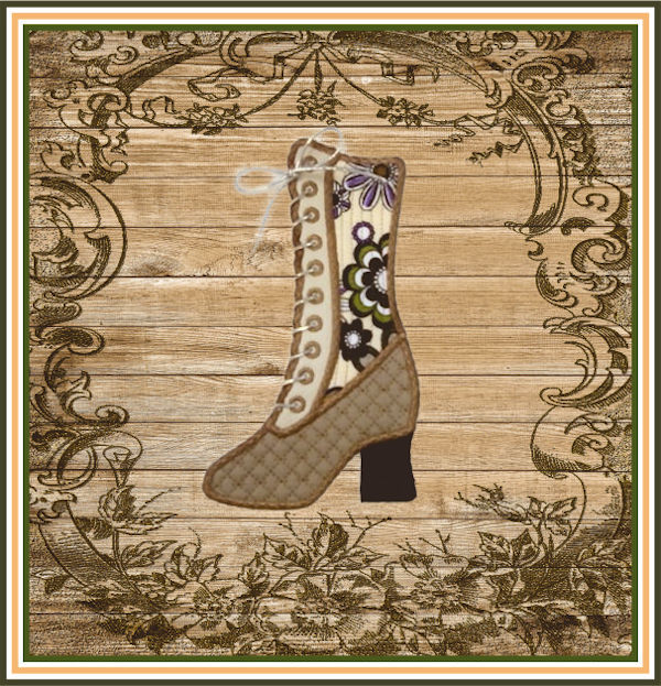 Vintage Boot made In the hoop