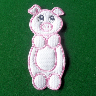 In the hoop Pig Bookmark