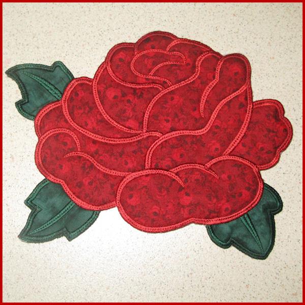 Rose Large Applique Machine Embroidery Design