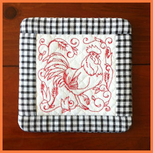 In-the-hoop Rooster Coasters