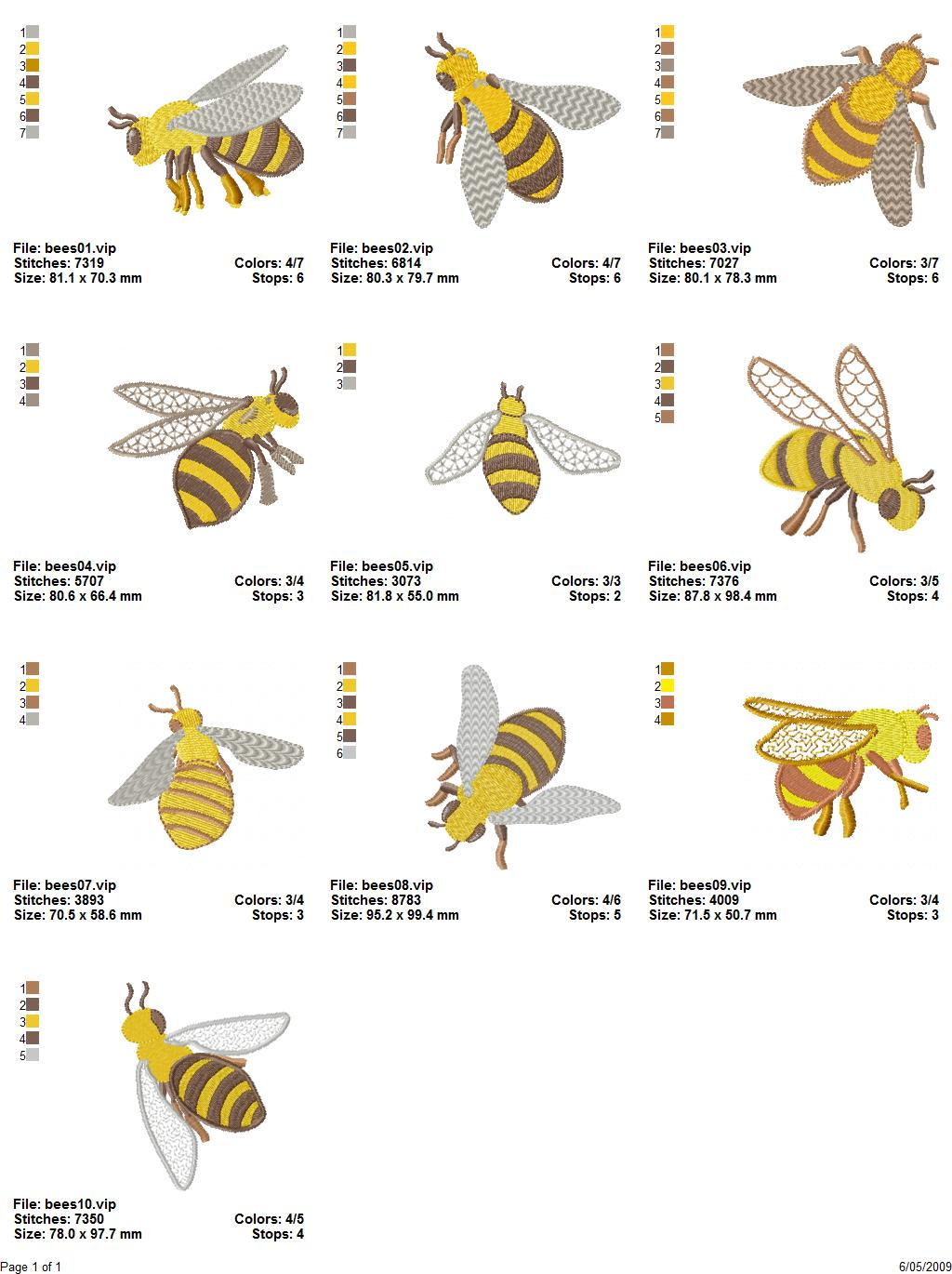 Bees filled applique machine embroidery design