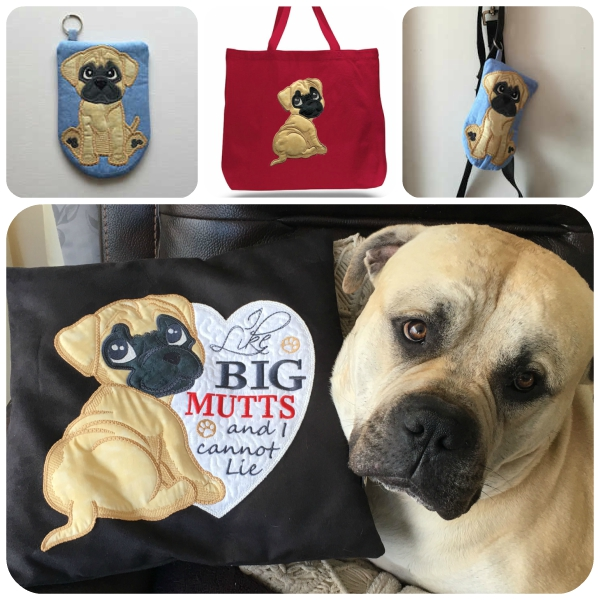 Large Dog Applique In the hoop Dog Bag