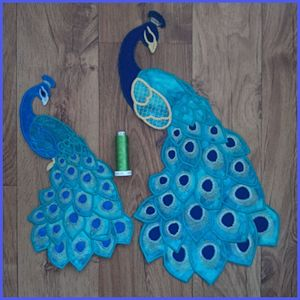 Large Peacock Applique Free Instant Machine Embroidery