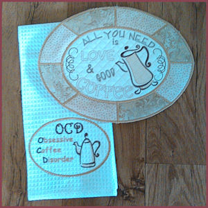 Coffee Placemat - Coaster and Towel Topper (In-the-hoop)